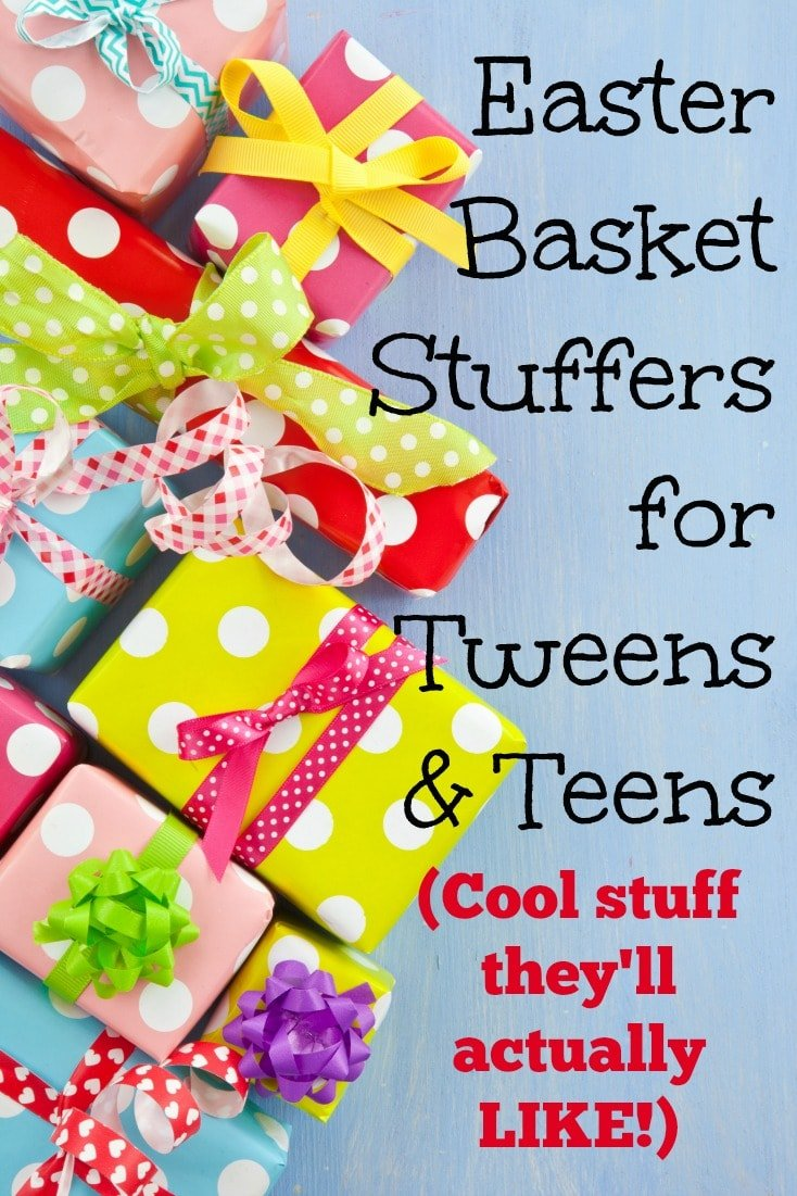 Check out these cool ideas for Easter basket stuffers for tween and teen Easter baskets! There's lots of great stuff that tween and teen boys and teen and tween girls will love!